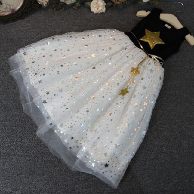b39864de9b18 Summer Baby Girl Dress Small Five Pointed Star Princess Party Dress ...