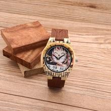 BOBO J24 PÁJARO de Bambú Creativo Mens Relojes de Moda de Colores UV Priting Mono D Luffy de Cuero Banda de Cuarzo de Pulsera Relogio