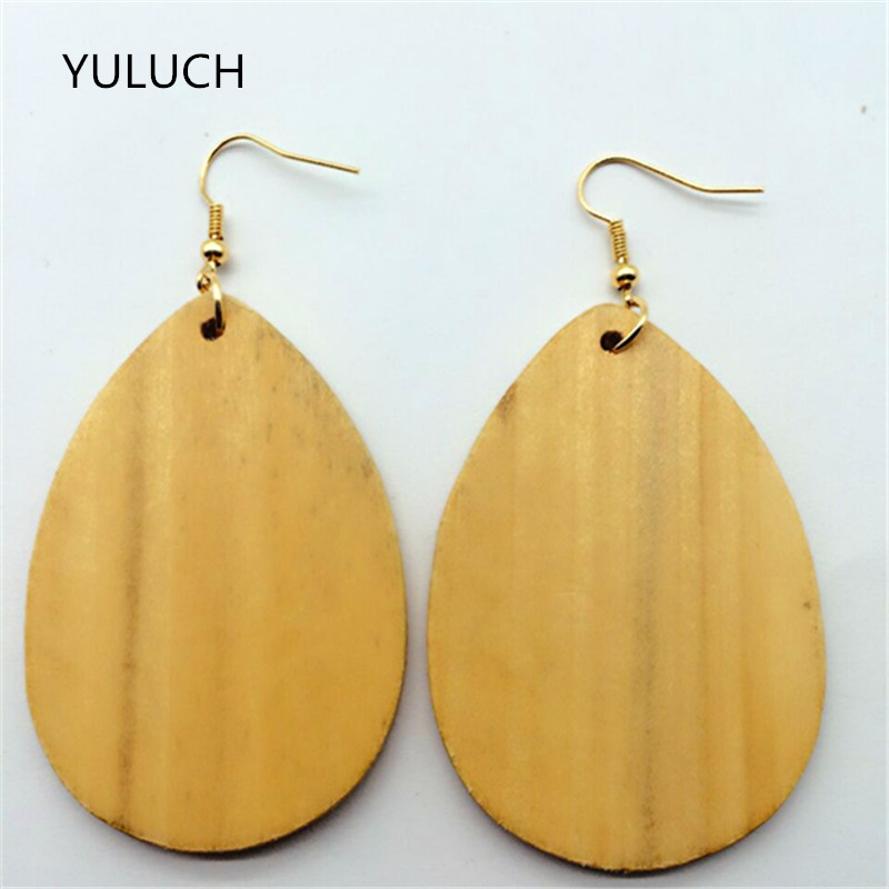 New Arrival good quality african wood Unfinished earrings jewelry pair 2016 new design personality hollow latest