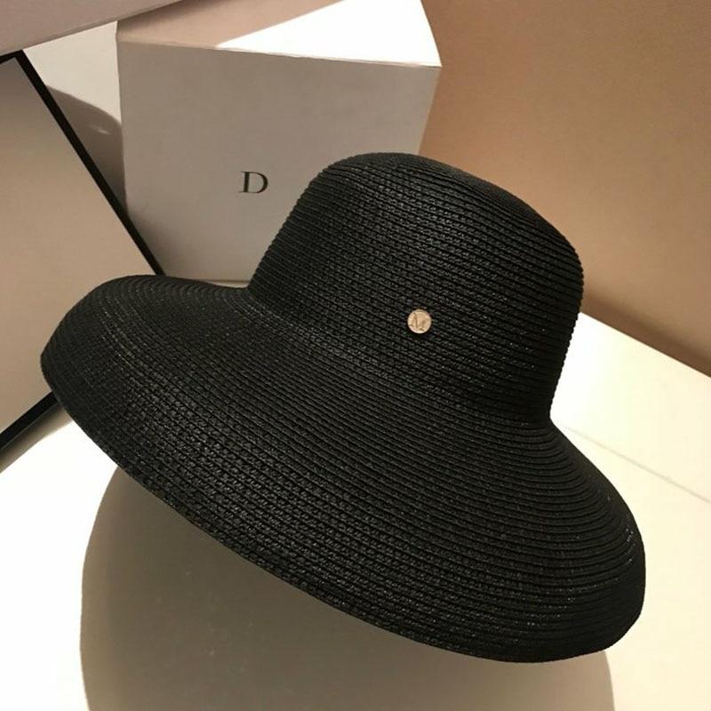 Image 5 - 13 см с широкими полями, пляжная шляпа от солнца, большая флоппи женская летняя шляпа, красная, черная, белая, УФ Защита от солнца, соломенная складная шляпа для путешествий, Шляпа Дерби-in Женские шляпы солнца from Аксессуары для одежды on AliExpress - 11.11_Double 11_Singles' Day