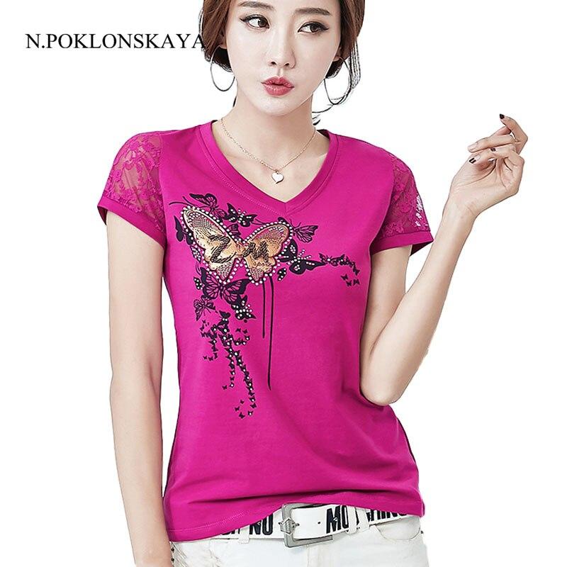N.POKLONSKAYA Summer Lace T-shirt Women Hollow out T Shirt Korean Female Tops Vetement Shirt Femme Plus Size 4XL Tshirt CB028