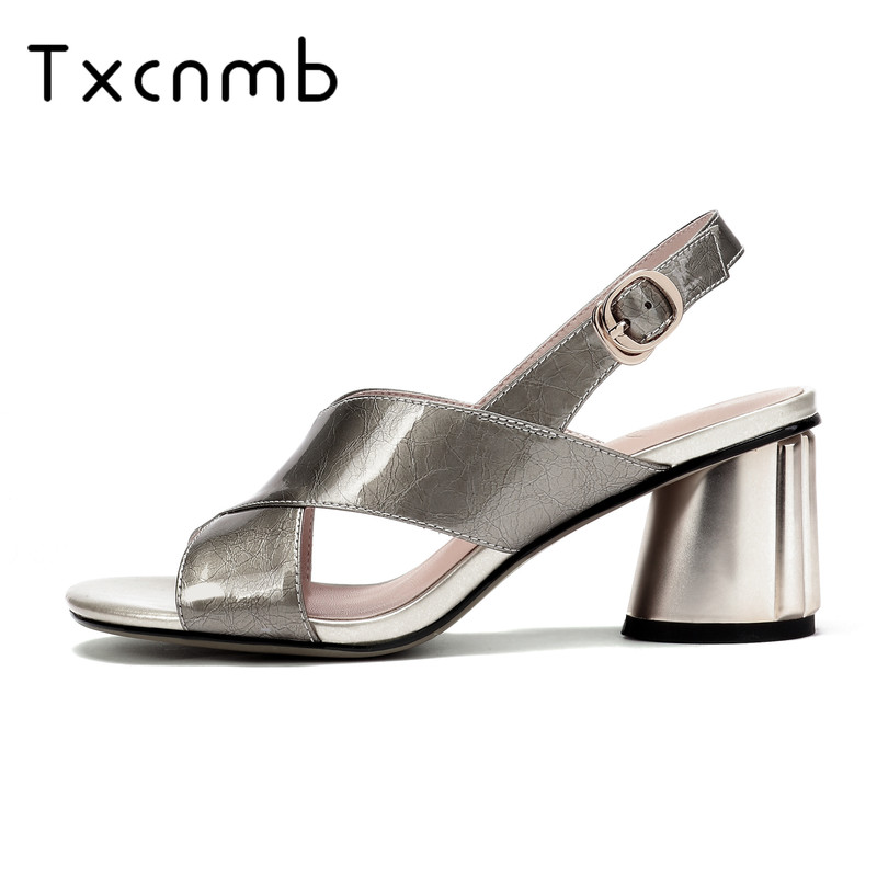 TXCNMB shoes woman 2019 Classic Genuine Leather Patent Leather Women Sandals Summer New Peep Toe High
