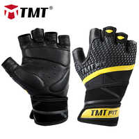 Guantes de gimnasia de cuero TMT levantamiento de pesas CrossFit cómodo transpirable para deportes ciclismo entrenamiento excita hombres y mujeres
