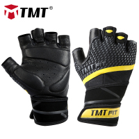 TMT Leather Fitness Gym Gloves Crossfit Weight Lifting Comfortable Breathable for Sports Cycling Training Excises Men and Women