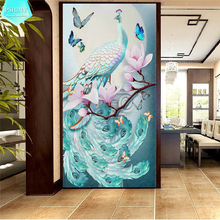 PSHINY 5D DIY Diamond embroidery Light Blue Peacock Animal Full drill Square rhinestones pictures Diamond Painting new arrivals цена 2017