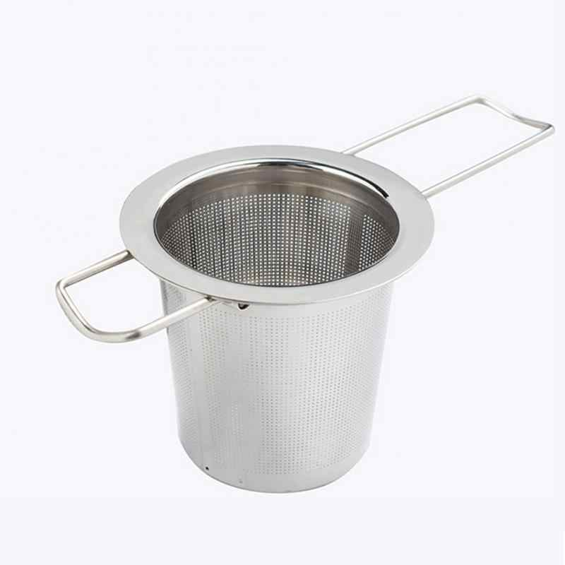 Practical Tea Ball Strainer Mesh Infuser Filter 304 Stainless Steel Herbal Filter Folding Handle