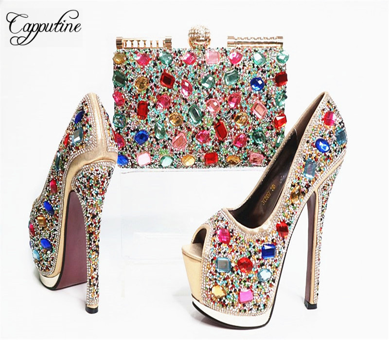 Capputine High Quality Crystal Super High Heels Shoes And Bag Set Italian Style Woman Shoes And Bag Set For Wedding Party G33 capputine high quality crystal super high heels shoes and bag set italian style woman shoes and bag set for wedding party g33