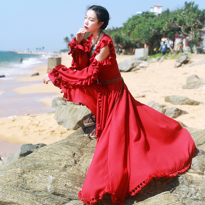 Free Shipping Red Spring Summer New Fashion Linen Cotton Irregular High-low Women Long Sleeve Maxi V-neck Dresses With Tassels
