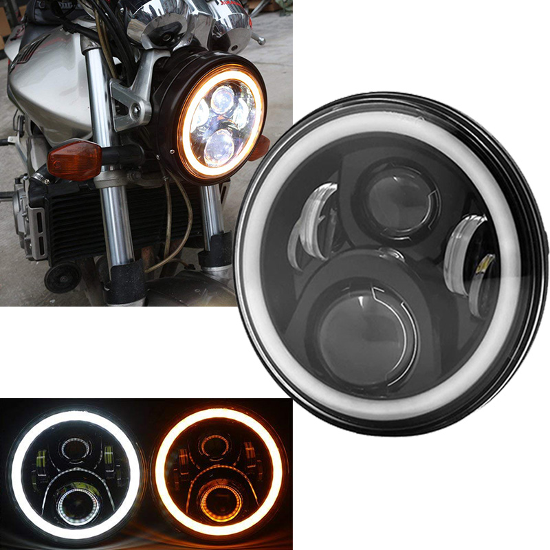 For Harley Softail Slim FLS 7 inch Halo angel eyes DRL Headlamp motorcycle projector led headlight for Fat boy harley davidson headlight price