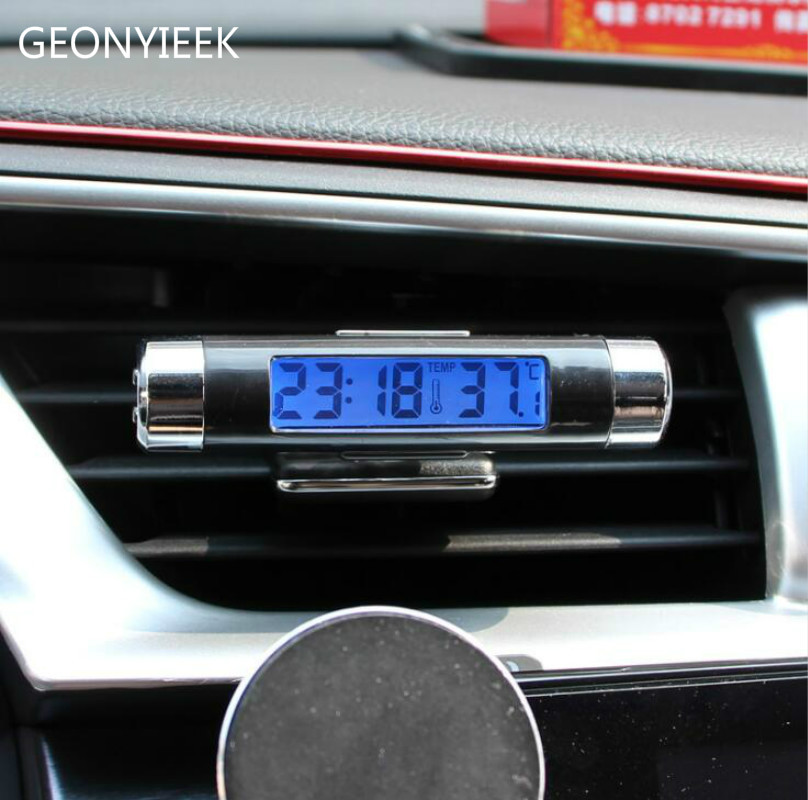 New 2 in 1 Car Auto Thermometer Clock Calendar LCD Display Screen Clip-on Digital Blue back light Automotive Accessories mini car automobile digital clock auto watch automotive thermometer hygrometer decoration ornament clock in car accessories