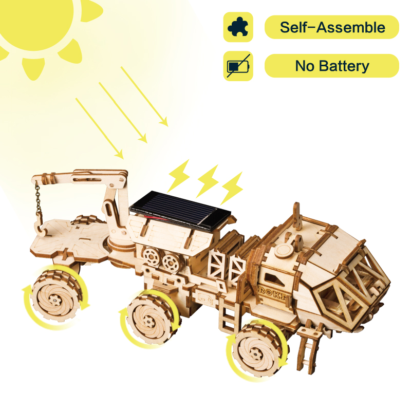 Robotime Creative DIY 3D Discovery Rover Moveable Solar Energy Powered Model Building Kits Toy Gift For Child Adult LS504