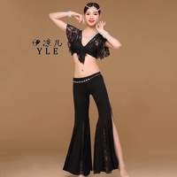 Belly Dancing Trousers Set 2017 New Arrivals Lace Belly Dance Practice Costume 2 Pcs Top Pants