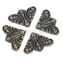 New 12PCS Bronze Luggage Case Jewelry Box Corners Brackets Vintage Metal Decorative Corner Furniture Decor Hardware 30x30mm(China)
