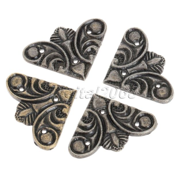 New 12PCS Bronze Luggage Case Jewelry Box Corners Brackets Vintage Metal Decorative  Corner Furniture Decor Hardware
