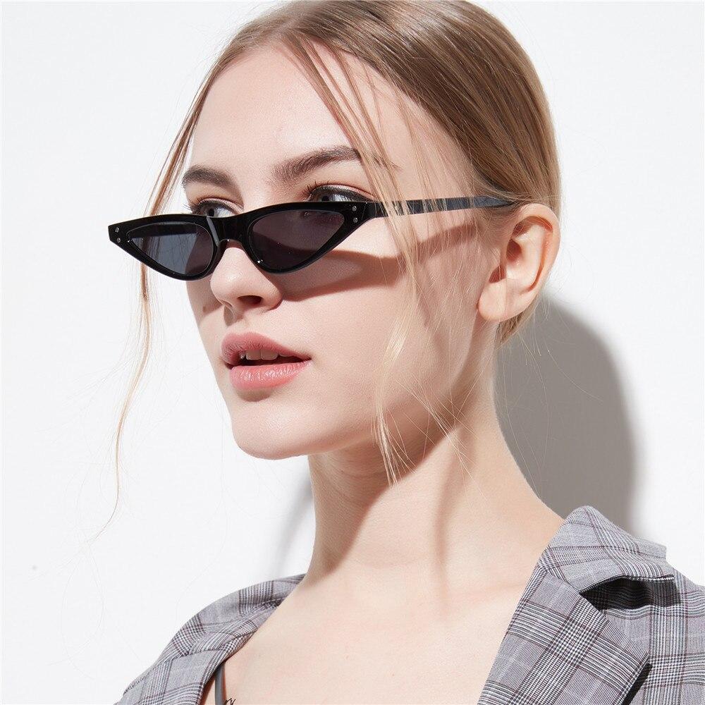 2018  New Cat Eye Sunglasses Women Small Triangle Eyeglasses Vintage Stylish  Cateye Sun    Glasses Female UV400