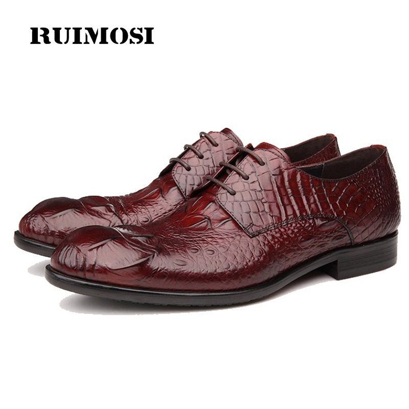 RUIMOSI New Arrival Round Toe Man Formal Dress Shoes Genuine Leather Crocodile Oxfords Luxury Men's Bridal Wedding Flats GD28