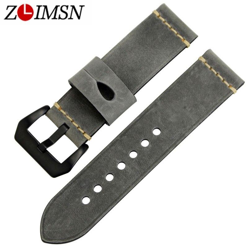 ZLIMSN Genuine Leather Watch Bands Straps Belts 22 24mm Watchband Black 316L Stainless Steel Buckle Watch Men Accessories