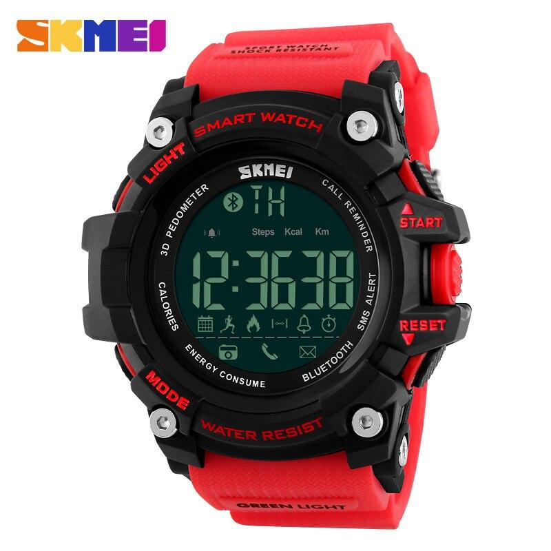 SKMEI Hommes Montre Smart Watch Podomètre Calories Chronographe Mode Sports de Plein Air Montres 50 m Étanche Numérique Montres 1227