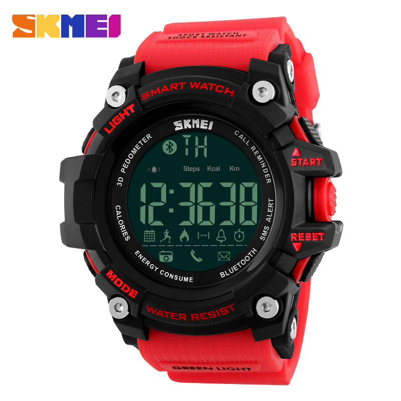SKMEI Men Smart Watch Pedometer Calories Chronograph Fashion Outdoor Sports Watches 50M Waterproof Digital Wristwatches 1227 skmei men sports health watches 3d pedometer heart rate monitor calories counter 50m waterproof digital led mens wristwatches