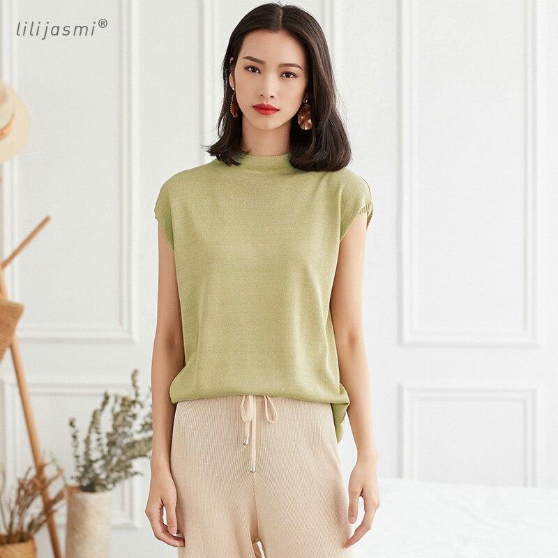 2018 Women's Half-neck Sleeveless Knit Thin T-shirt Knitted Pullover Base Tee HongKong Asian Style Summer Linen Cool T-shirt