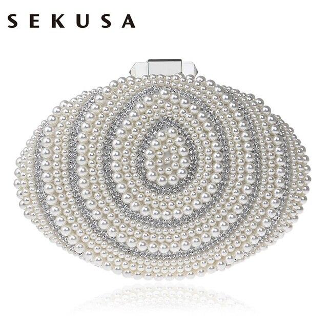 SEKUSA Egg Beaded Women Evening Bags Rhinestones Pearl Day Clutch Chain Shoulder Small Purse PU Fashion Handbags/Evening Bag