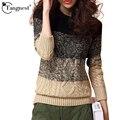 Tangnest camisola das mulheres pullover outono inverno 2017 top de malha gradiente de cor do vintage estilo completo manga da camisola do natal wzm896