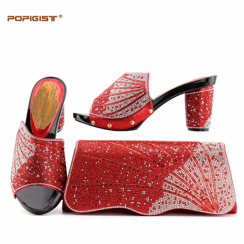 Femmes Cm red Qualité Or Blue Strass De 9 Pour Décoré Couleur Correspondant Et Haute gold Pompes Italie green Ensemble Avec Italien Chaussures Sac qBt4x76w