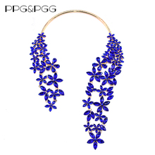 PPG&PGG New Gorgeous Fashion Blue Crystal Gem Big Brand Pendants Chain Choker Statement Necklace Lady Bijoux