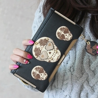 New Fashion PU Leather Women Wallets Personality Punk Skeletons Kito Hit Color Rivet Long Clutches Change