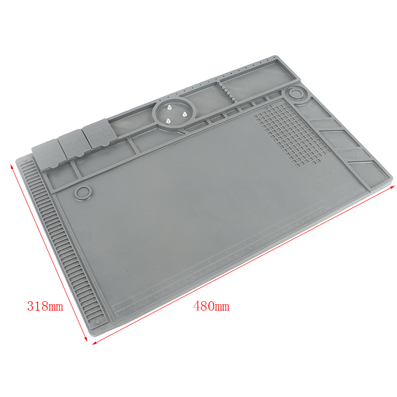 Insulation Resistant Silicone Pad Trinocular Microscope Stand Holder Work Platform 480*318 mm For Phone Heat Gun Solder Repair