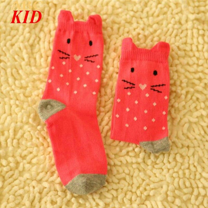 2017 Fashion Cartoon Cat Designer Socks Girls Cotton Quality Socks Red Gray Sokken Kids Chaussette Enfants