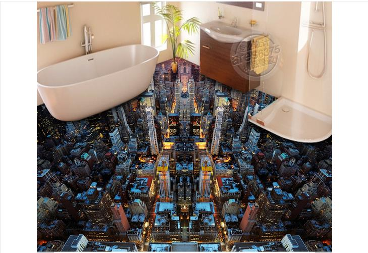 3D wallpaper Custom 3d photo Waterproof floor painting wallpaper City light floor stick a 3 d ground murals 3d room wallpaer free shipping top quality italy glue beads 100g keratin glue granules beads grains hair extensions hair extension glue beads
