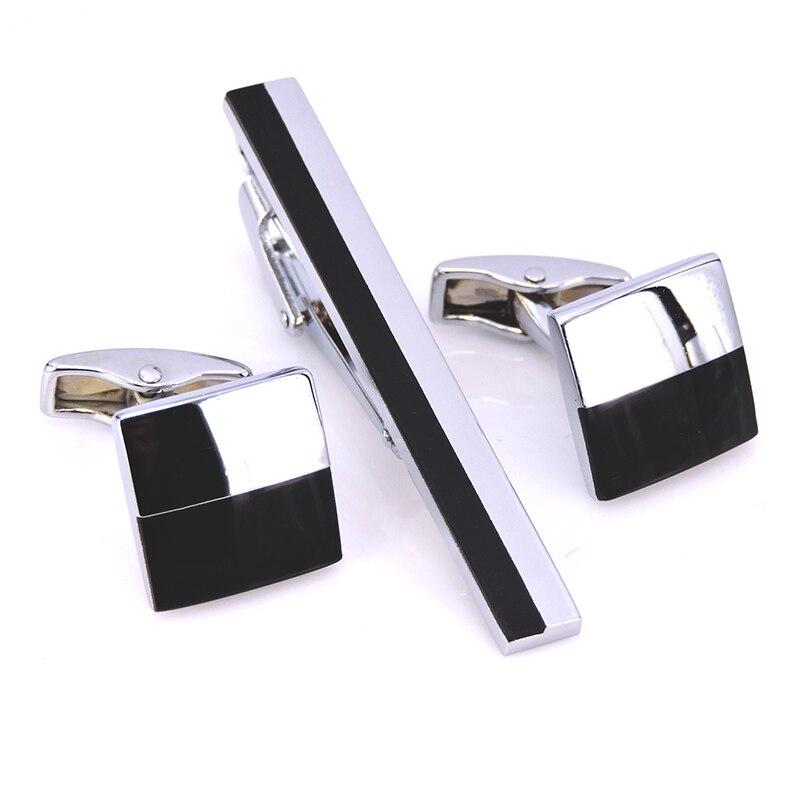 456cf01cf3e3 ᑎ‰HYX роскошный черный Серебряные Запонки Зажим для галстука набор ...