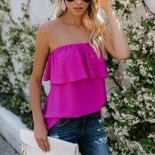 hot deal buy camis tops women ruffled elastic strapless casual tshirt summer slash neck women tops tees