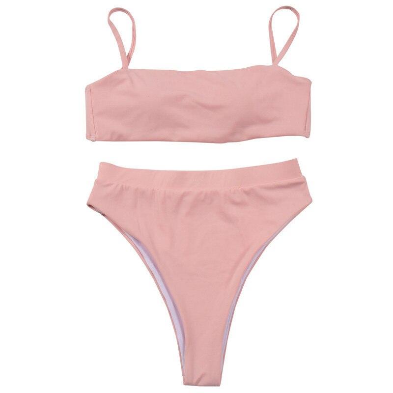 Купальник с высокой талией,, сексуальное бикини для женщин, бразильский купальник, пуш-ап, бандо, топ, плюс размер, низ, бикини, набор, купальники - Цвет: A2236 Pink