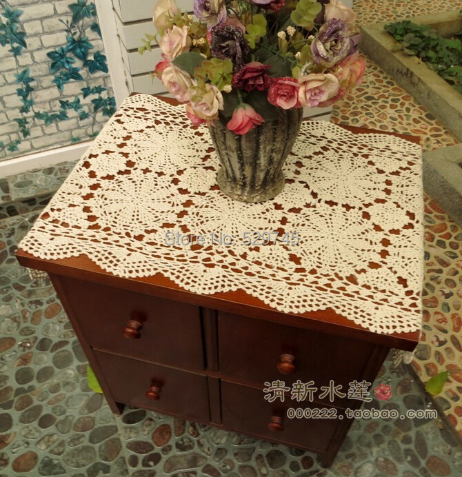 Christmas decorations Handmade Crochet flowers Oval Table Runner Cotton  Tablecloth openwork Doilies Furniture Cover cloth(