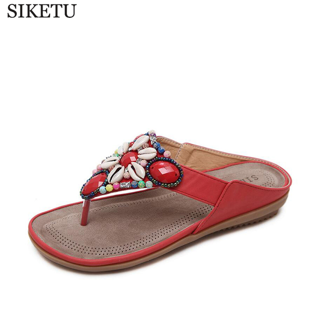 21769be7aad4 Summer Flat Sandals Ladies Bohemia Beach Flip Flops Shoes Gladiator Women  Shoes Sandles slippers Zapatos Mujer Sandalias k311