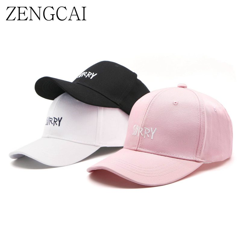цена на ZENGCAI Baseball Hats For Men Women Snapback Caps Solid SORRY Letter Adjustable Hip Hop Hat Baseball Cap Casquette De Marque