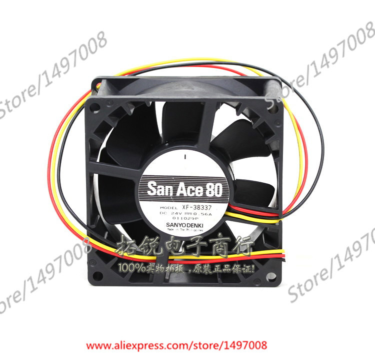 Free Shipping For Sanyo XF-38337 DC 24V 0.56A 3-wire 3-pin connector 80mm, 80x80x38mm Server Square fan