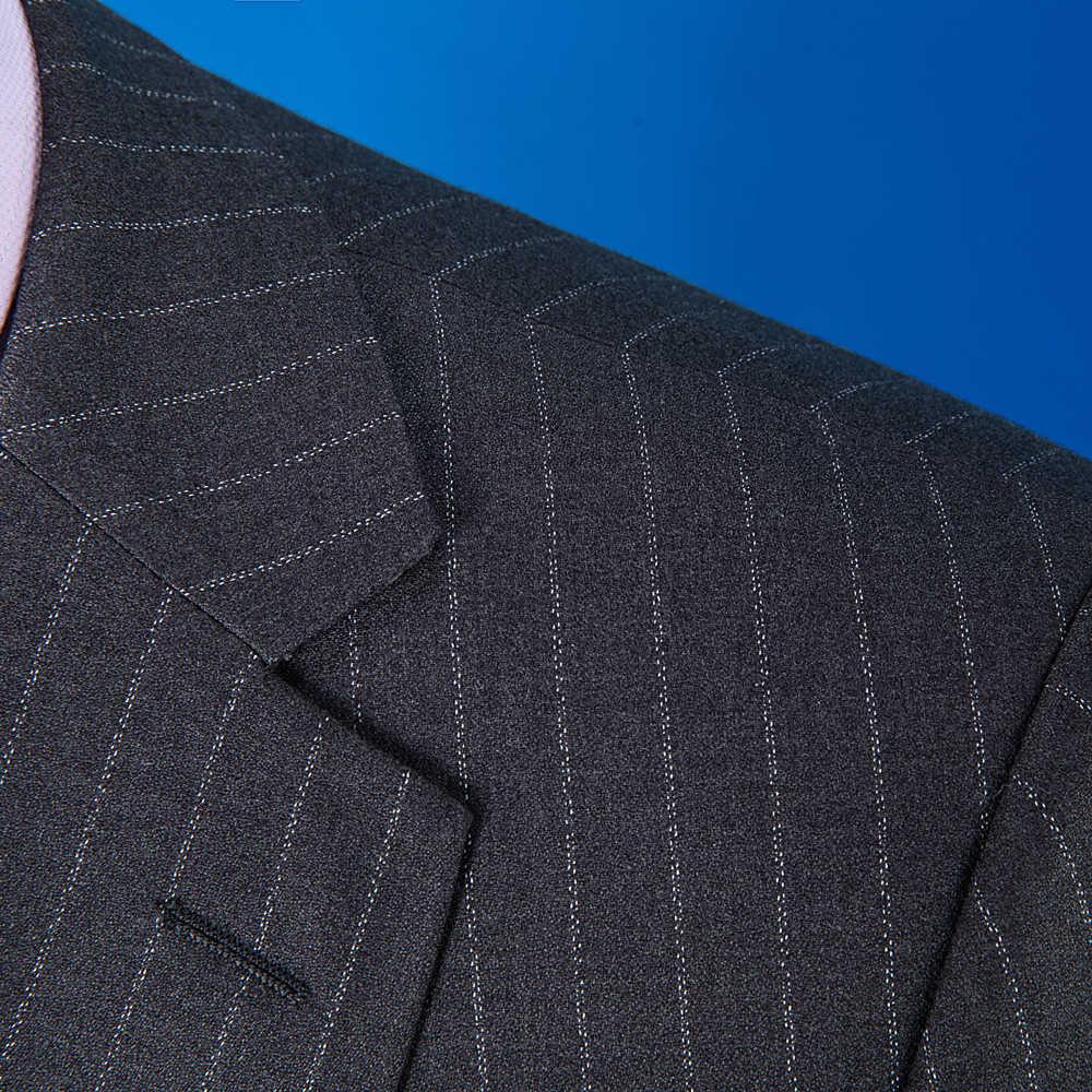 OSCN7 2019 ストライプカスタムメイドスーツ男性スリムフィットウェディングパーティーメンズオーダーメイドスーツファッション 3 ピースブレザーパンツベスト ZM-584
