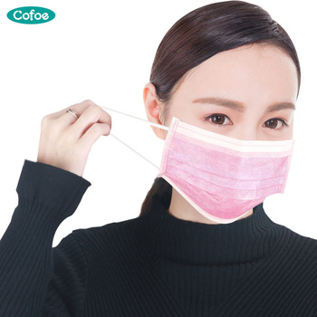 Cofoe 50pcsBox Disposable Surgical Face Mask Medical Household Mouth Masks with Unisex Unisize Non-woven Earloop Face Mask household supply