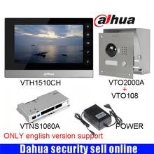 Mutil language Dahua VTH1510CH Color Monitor with VTO2000A outdoor IP Metal Villa Outdoor Video Intercom sysytem with VTO108