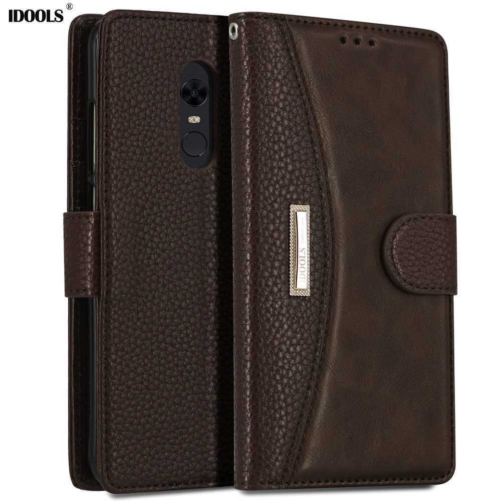 IDOOLS Case for Xiaomi Redmi 5 Plus Pro Cover Dirt Resistant Redmi5 Luxury PU Leather Wallet Flip Cases for Xiaomi redmi 5 Coque