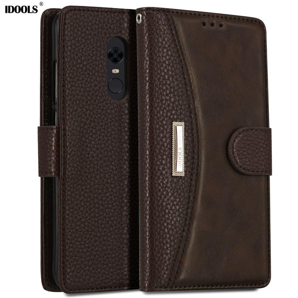 IDOOLS Fall für Xiaomi redmi 5 Plus 6 Pro 6A Abdeckung Schmutz Beständig Luxus PU Leder Brieftasche Flip Fällen für Xiaomi redmi 5 Coque