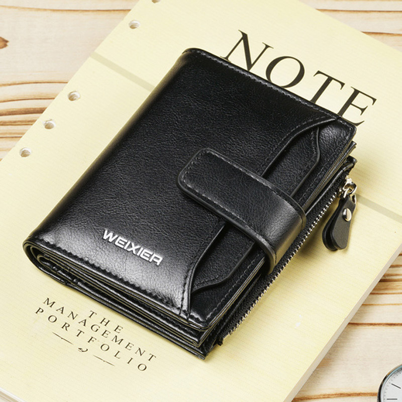 WEIXIER brand Wallet Men pu leather men wallets Zipper purse short male clutch leather wallet men money bag Credit Card Hold New in Wallets from Luggage Bags