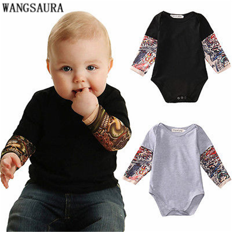 Bodysuit Tattoos-Print Long-Sleeve WANGSAURA Toddler Baby-Boy Outfits Kids Cotton Gray
