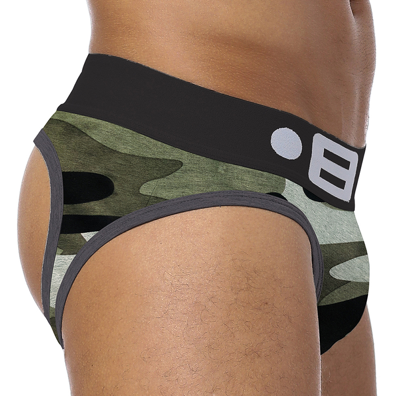 BS Brand Backless Crotch G-strings Camouflage Men Underwear Sexy Gay Penis Tanga Male Underwear Slip Thongs Jockstraps BS142