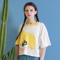 캐주얼 티 여름 새로운 여성 Tshirt 장난 인쇄 티 셔츠 최고 디자인 O 목 느슨한 짧은 소매 티셔츠 흰색 패치 노란