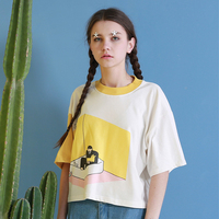 Summer New Women S Tee Tops Indoor Series Playful Pattern Print Tshirt Ulzzang Harajuku Round Neck