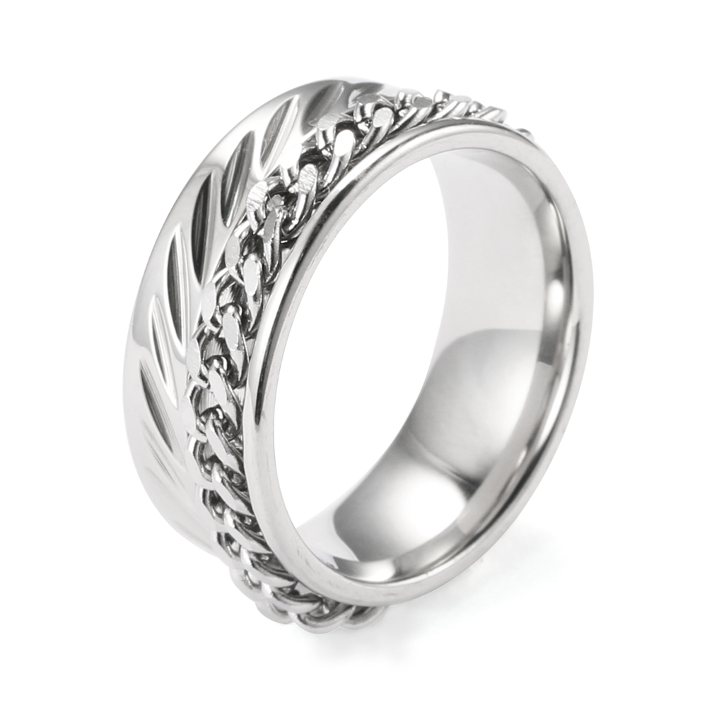AMGJbc Punk Accessories 2017 Gothic Ring Men Jewelry Link Chain Grooves Around Ring Stainless Steel Knuckle Male Ring 8mm Wide